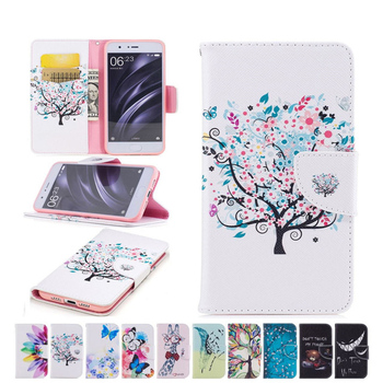 Fashion PU Leather Wallet Case 2017 For Xiaomi 6 Mi6 Redmi Note 4X Tree Butterfly Flower Stand Flip DP58