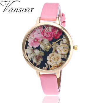 2017 New Vansvar Brand Floral Flower Elegance Watch Garden Beauty Bracelet Women Wrist Watch Luxury Quartz Watch Gift Hot