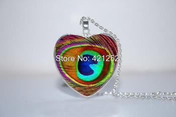 10pcs/lot Peacock Feather Heart Pendant, Christmas Gift, Peacock heart Necklace Glass Photo Cabochon Necklace