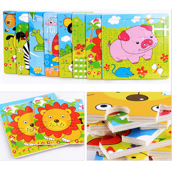 Wooden jigsaw puzzle cartoon animals transportation children's educational wooden toys cognitive learning